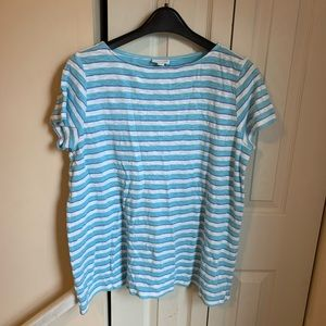 J Jill Aqua Blue White Striped Linen Tee Shirt L